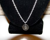 Sterling Silver Disc Necklace/ Initial Disc Necklace Personalized, chain linked necklace