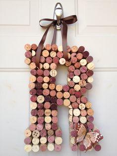 Whimsical Wine Cork Monogram Custom Letter Home Decor. $37.00, via Etsy.