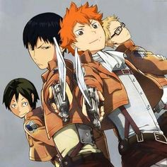 Haikyuu and Attack on Titan crossover_ This is my new favorite thing! And I LOVE that Hinata is Levi (i know it is because he is shorter but still)