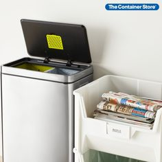 Take out the trash and create more space! Shop our Trash & Recycling section for dozens of great solutions. (Shown: 12.4 gal. Motion Sensor Trash Can; White Stackable Recycle Bins) Garbage Can, Trash Bins, Container Store, Recycling Bins, Garage Organization, Space Saving, Home Appliances, Stainless Steel