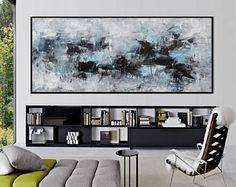 Originele abstracte zeegezicht schilderij vierkant blauw wit
