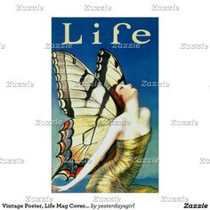 Vintage Poster, Life Mag Cover, Art Deco Butterfly Poster