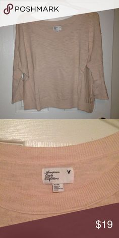 AE 3/4 sleeve light sweater AE light weight 3/4 sleeve boat neck sweater light pink. American Eagle Outfitters Sweaters Crew & Scoop Necks