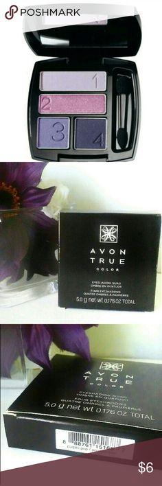 Avon True Color Eyeshadow Quad - NIB - Brand New Easy numbered shades for effortless eyes.  Multi-finish.  Color is Purple Pop. Avon Makeup Eyeshadow