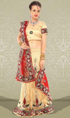 Glorious Beige Net Lehenga Choli Price: Usa Dollar $315, British UK Pound £185, Euro234, Canada CA$ 338, Indian Rs17010.
