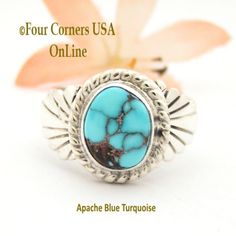 Size 9 1/4 Apache Blue Turquoise Silver Ring Navajo Artisan Wilson Padilla NAR-1650 Four Corners USA Online Native American Jewelry Native American Rings, American Indian Jewelry, Turquoise Jewelry, Turquoise Stone, Four Corners Usa, Pin Art, Silver Rings, Silver Jewelry, Men's Jewelry