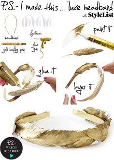 DIY: gold feather headband