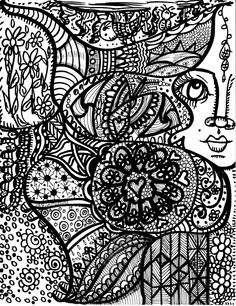 A Surreal Dream...a hippie coloring book by me...Dawn Collins Art ...