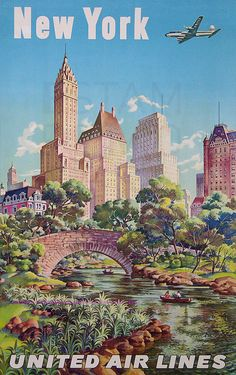 New York - United Air Lines - Gapstow Bridge at Central Park South Pond, Manhattan - Vintage Airline Travel Poster by Joseph Fehér - Master Art Print - x Pub Vintage, Photo Vintage, Vintage New York, Vintage Style, Poster Retro, A4 Poster, Poster Prints, Poster Wall, Art Prints