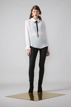 vestige shirt / ivory by Moochi. Everyday luxury, from off-duty essentials to coveted designer pieces. Buy Now! Second Skin, Off Duty, Work Wear, Buy Now, Chiffon, Ivory, Normcore, Luxury, Winter 2017