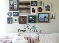 pretty rustic frame collage.  frames from michaels, tj maxx, home goods, and target.  fun wood panel from target.  colorful.  decorating.