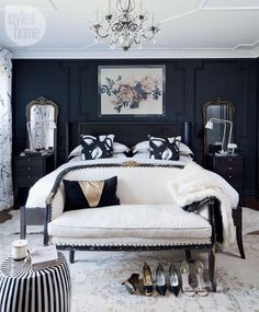 Black Bedroom Sets for Sale . Black Bedroom Sets for Sale . Wall Decor Bedroom, Bedroom Wall, Modern Bedroom, Blue Bedroom, Small Master Bedroom, Bedroom Sets, Small Bedroom, Interior Design Bedroom, White Bedroom Decor