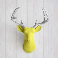 The Virginia Large Yellow Faux Taxidermy Resin Deer Head Wall Mount | Yellow Stag w/ Colored Antlers