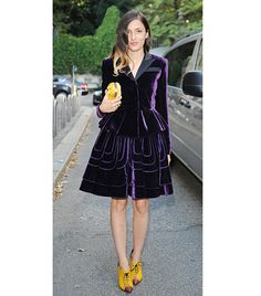 @Who What Wear - WHO: Eleonora Carisi of Joujou Villeroy  WHAT: At the Alberta Ferretti S/S 14 show.  WEAR: Alberta Ferretti jacket and skirt; Benedetta Bruzziches clutch; Greymer shoes.