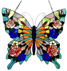 Beautiful Butterfly, Tiffany style, Stained Glass Panel