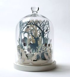 """""""Winter Wood"""" by Helen Musselwhite (paper art in a Glass Dome)"""