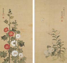 Sakai Hōitsu (酒井抱一; 1761–1828), Lilies and Hydrangeas; Hollyhocks, Edo period, 1801. Two-panel folding screen; ink, color, and gold on silk. Mary Griggs Burke Collection, gift of the Mary and Jackson Burke Foundation.