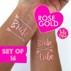 ROSE GOLD BOHO bachelorette tattoos, bachelorette party, bachelorette party favors, bride tribe tattoo, party tattoo, temporary tattoo, hen by Tats4now