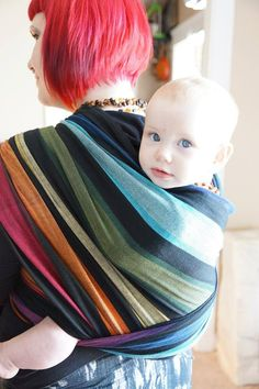 Girasol Corrina's Rainbow Exclusive Woven Wrap PAXmommy Brianna's first Girasol design is Corrina's Rainbow, named for her Baby #2 and available in 2 wefts, *cream* & *black.*