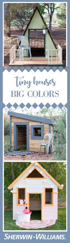 When Mandi from decided she wanted to give the gift of color to deserving foster care families, she got busy designing, building and painting! The end result? These three amazing A-frame, mid-century and cottage-style playhouses, each accessorized by Country Chic Cottage, Cottage Style, Home Improvement Projects, Home Projects, Modern Playhouse, Foster Family, Spring Painting, Outside Living, Playhouses