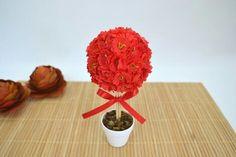 Vasinho de topiaria vermelho com branco