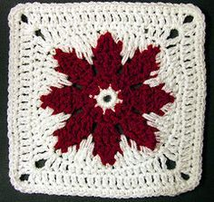 Granny's red flower square... Free pattern! ༺✿ƬⱤღ✿༻