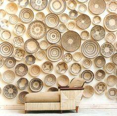 African baskets, African home decor, African basket wall decor, boho home decor, bohemian home decor. Accent Wall Designs, Wall Art Designs, African Interior Design, South African Design, Style Africain, African Home Decor, Pinterest Crafts, Baskets On Wall, Woven Baskets