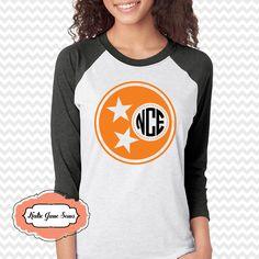 Tennessee Tristar Raglan Tshirt, Rocky Top TN Shirt, Tristar Monogram Adult Raglan Tshirt, TN Football Tee by KatieJaneSews on Etsy