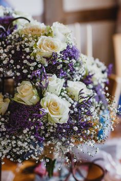 White & Purple Wild Flower Wedding Bouquet including Roses and Gypsophila Baby's Breath gyp | Rustic Wedding | Images by John Hope Photography | http://www.rockmywedding.co.uk/jess-adrian/