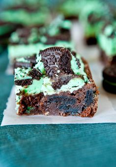 Triple Layer Fudgy Mint Oreo Brownies. Really good, but I'm going to make them in a bigger pan next time: way too sweet when made in 8X8