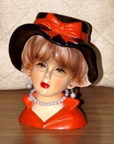 "Rubens (4107) 5 3/4"" floppy hat lady head vase in red-orange and black. Photo credit: Blonde Blythe"