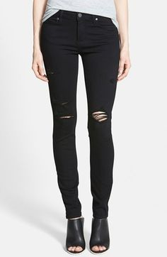 Free shipping and returns on Paige Denim 'Verdugo' Ultra Skinny Jeans (Black Destructed) at Nordstrom.com. Low-slung skinny jeans are cast in a solid black wash and ripped at the knees for a punky finish.
