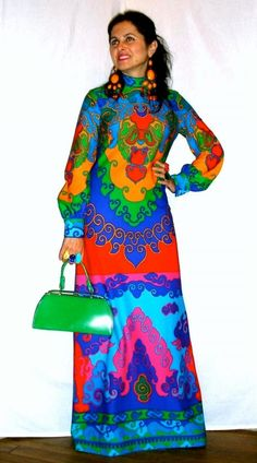 Perhaps my most favorite dress of all (and I've got tons of them) - vintage 70s spectacular TORI RICHARD maxi in super-saturated, bold colors.