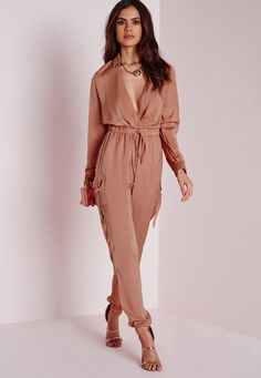 Missguided - Satin Long Sleeve Jumpsuit Blush