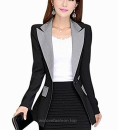 Aro Lora Women's Long Sleeve Color Block Lapel One Button Jacket Blazer Suit US 4-6 Black  BUY NOW     $29.98    This unique design blazer is slim fitted and it can wear both in formal and casual occasion. It can wear to work or wear to party. Versatile casual and office blazer  ..