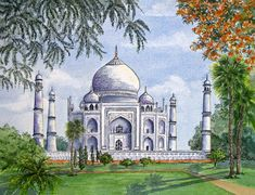 Travel Agencies in India- Glimpses Holidays Pvt.Ltd is luxury tour operators offering all holiday travel packages related services to help you catch the glimpse of India. Building Painting, Building Art, Watercolor Landscape Paintings, Watercolor Art, India Architecture, Indian Art Paintings, Islamic Art Calligraphy, Art N Craft, Moon Art