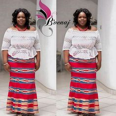 Simple and graceful. Outfit by African Wear, African Attire, African Dress, Kente Dress, Ankara Skirt And Blouse, African Print Fashion, African Fashion Dresses, African Traditional Wedding Dress, Ghana Fashion