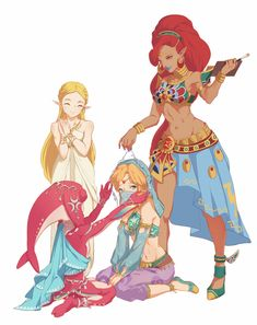 Legend of Zelda Breath of the Wild art > everyone fawning over Gerudo Vai Link The Legend Of Zelda, Legend Of Zelda Breath, Sheikah Zelda, Mipha And Link, Gerudo Link, Link Botw, Botw Zelda, Hyrule Warriors, Fanart
