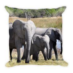 Elephant Square Pillow 18x18