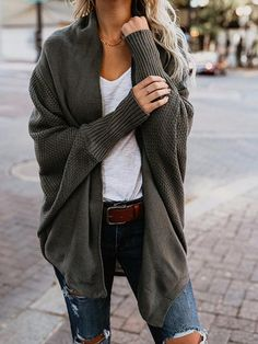Open Collar Oversize Casual Solid Color Cardigan