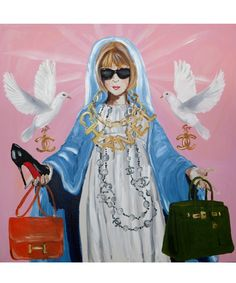 In honor of New York Fashion Week, artist Ashley Longshore showcases portraits of fashion's finest. Pictured: Blessed Mother of Fashion