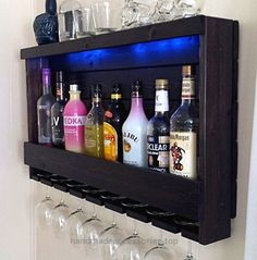 Wine Rack – RUSTIC – Liquor Cabinet – Shown in Dark Brown Espresso Finish – Shown with Blue LED Recessed Lights Check It Out Now     $215.00    You are going to Love your new rustic Wine Rack – Liquor Cabinet! When you get this wine rack and hang it on your wa ..  http://www.handmadeaccessories.top/2017/03/23/wine-rack-rustic-liquor-cabinet-shown-in-dark-brown-espresso-finish-shown-with-blue-led-recessed-lights/