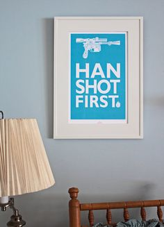 Star Wars inspired Movie Poster  Who Shot First by TomRyansStudio, $20.00