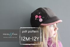 Uptown Hat pattern and tutorial 12Mteen easy sew by heidiandfinn, $7.49
