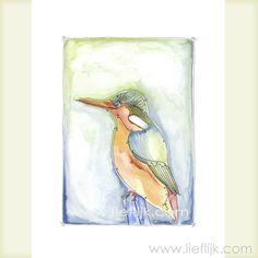 Poster Aquarel Vogel -- een print van het originele aquarel. Een afbeelding van een kleurrijke en vrolijke vogel. Deze poster is een mooi cadeau voor jezelf of voor een ander. Je kunt de poster zo ophangen, of inlijsten. Details: Afbeelding: ca.28 cm x 20 cm Papier: 29,7cm x 21 cm (A4 formaat) Papierdikte: 250gr, mat Het watermerk wordt vanzelfsprekend niet afgedrukt! www.lieflijk.com
