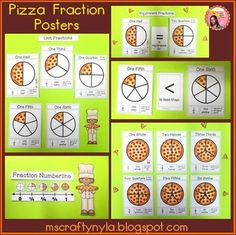 Pizza Fraction Posters Each Shows The Pizza Fraction Picture Fraction Numeral Fraction Word
