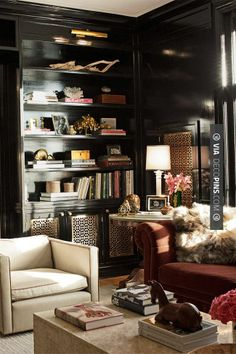 Wow - Farrow & Ball's Pitch Black lacquered built-in with brass grill panel detailing, Sasha Adler | CHECK OUT MORE BOOKSHELF IDEAS AT DECOPINS.COM | #bookshelves #storage #books #shelves #bookshelves #wallstorage #homedecor #homedecoration #decor #livingroom #walls