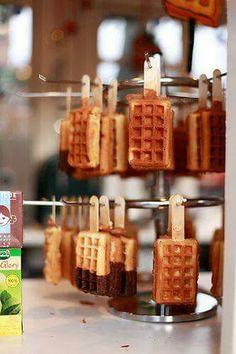 Waffle lollipops
