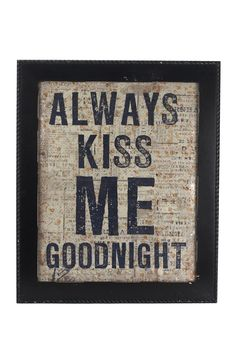 x  always kiss me goodnight wall art - Home and garden accessories