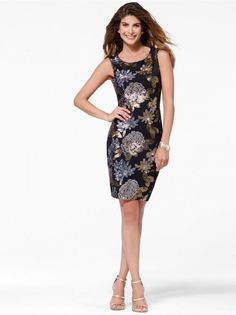 $228 Navy Floral Cowl-Back Dress #CacheStyle